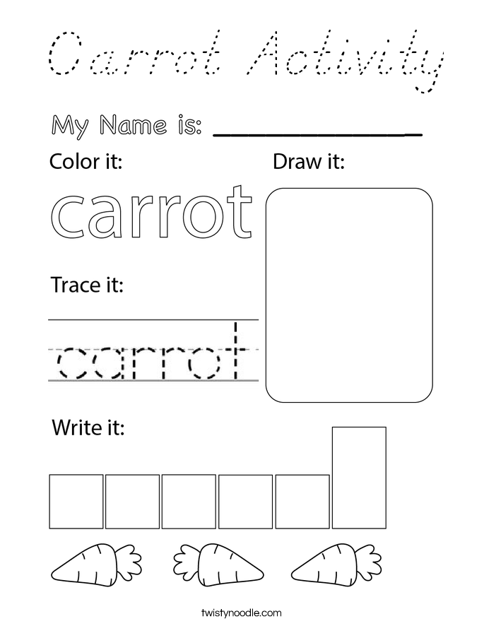 Carrot Activity Coloring Page