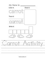 Carrot Activity Handwriting Sheet
