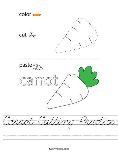 Carrot Cutting Practice Worksheet