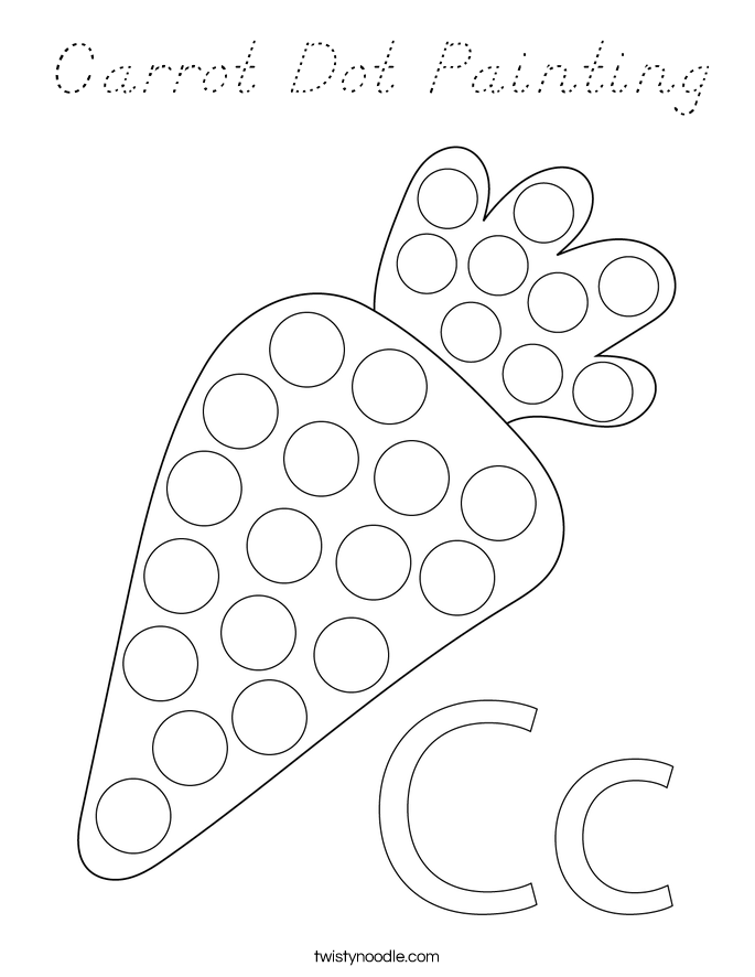 Carrot Dot Painting Coloring Page