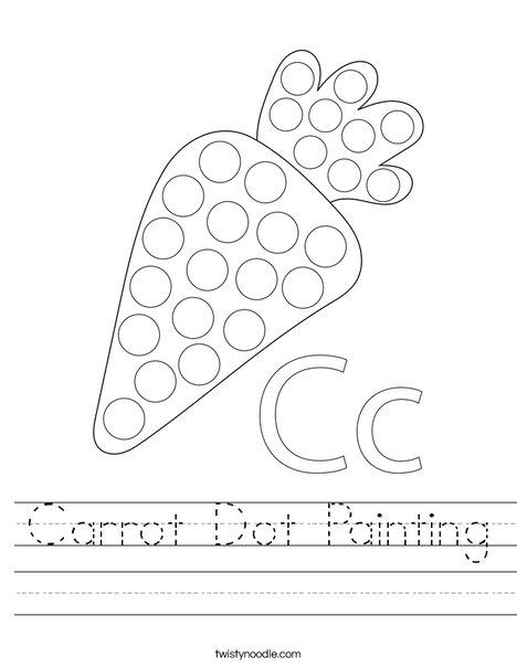 Carrot Dot Painting Worksheet
