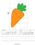 Carrot Puzzle Handwriting Sheet