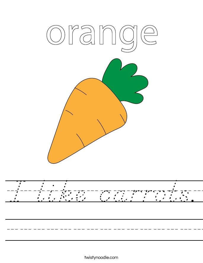 I like carrots. Worksheet