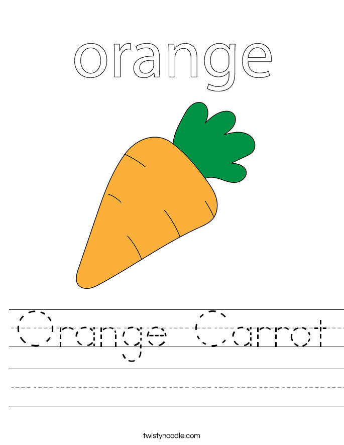 Orange Carrot Worksheet on Food To Print And Color
