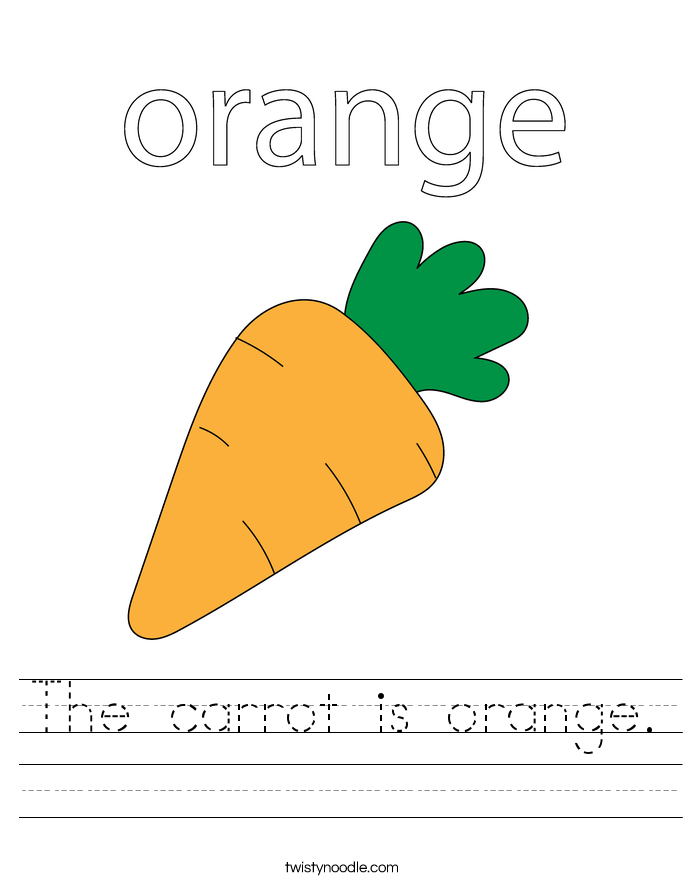 The carrot is orange. Worksheet