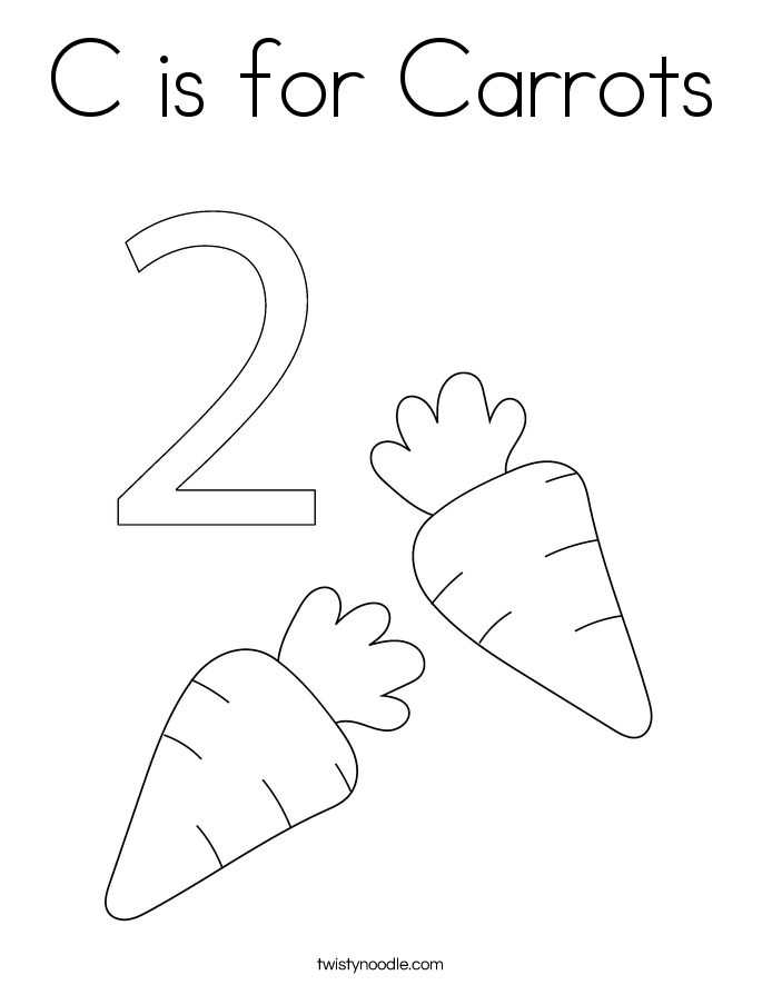 C is for Carrots Coloring Page