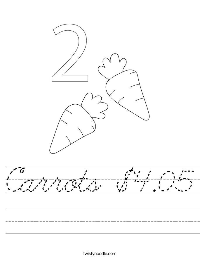 Carrots $4.05 Worksheet