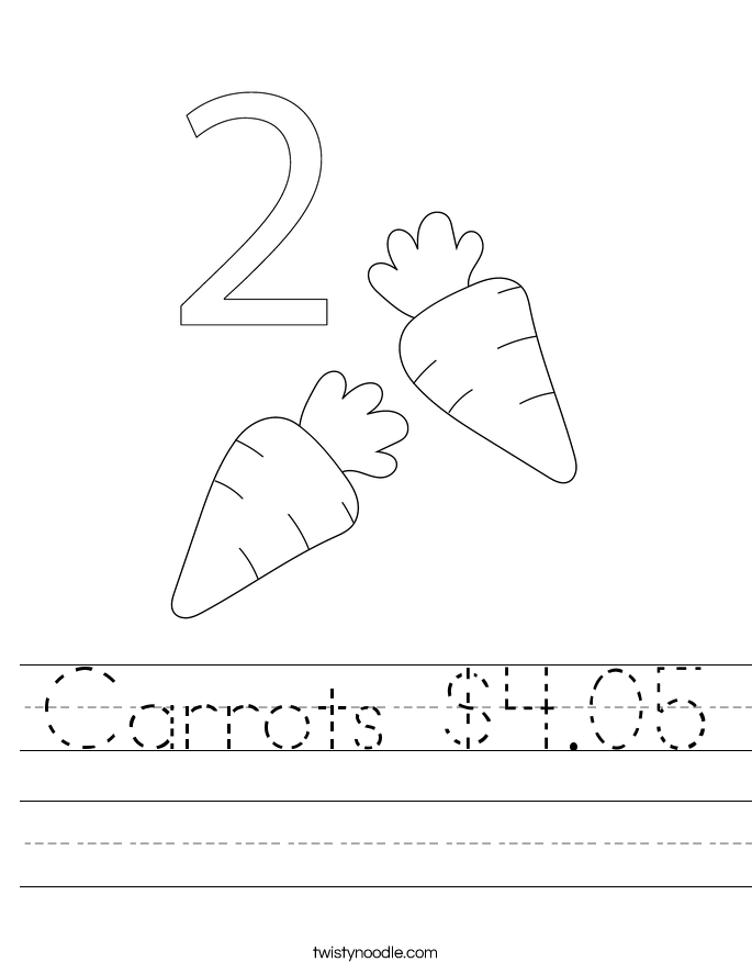 Carrots $4.05 Worksheet