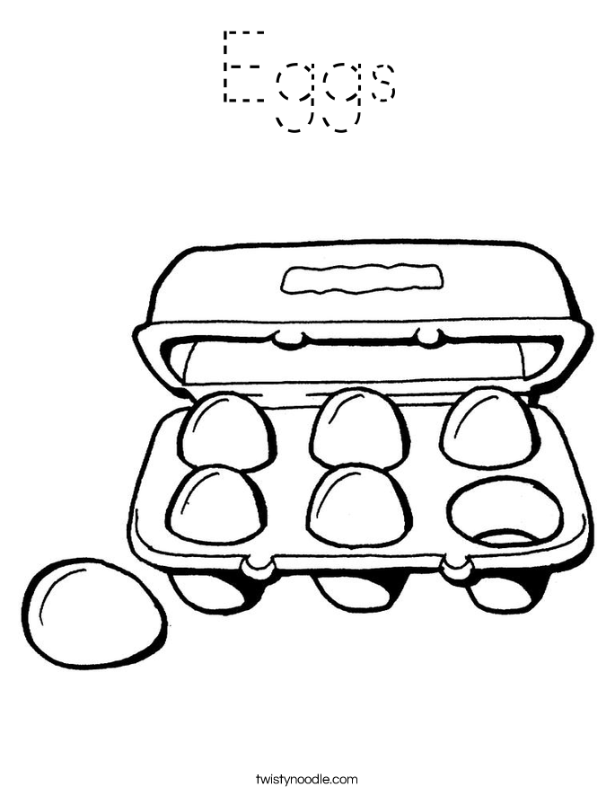 Eggs Coloring Page Tracing Twisty Noodle