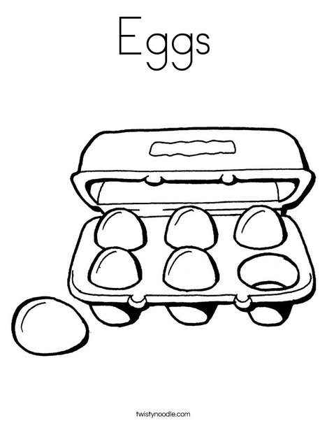 Carton of Six Eggs Coloring Page