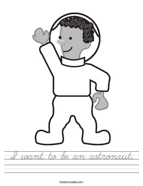 Cartoon Astronaut Worksheet