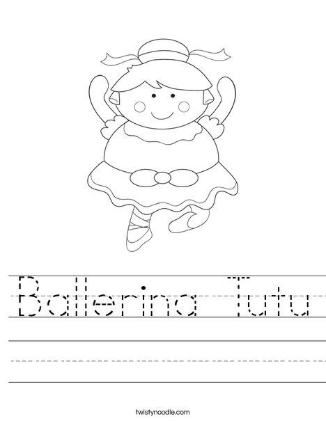 Cartoon Ballerina Worksheet