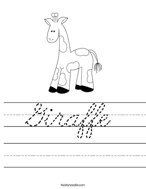 Cartoon Giraffe Worksheet