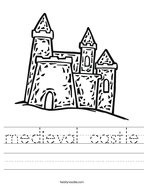medieval castle Handwriting Sheet