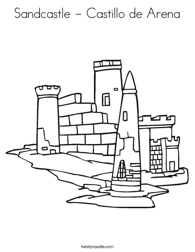 Sandcastle - Castillo de Arena Coloring Page