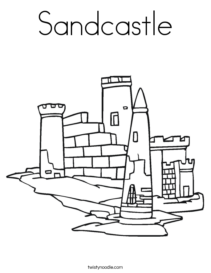 Sandcastle Coloring Page Twisty Noodle Sandcastle Coloring Page