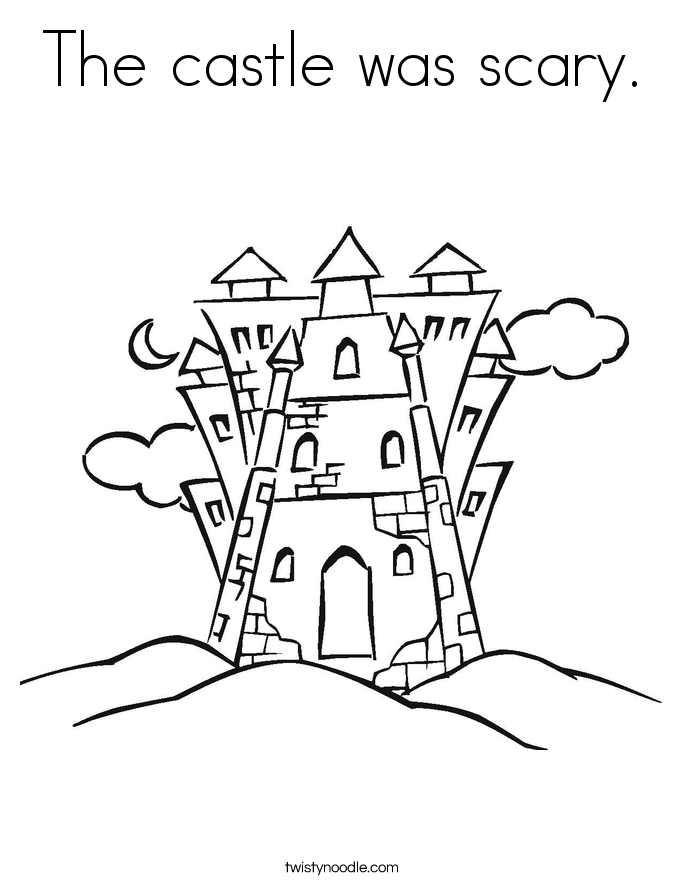 The castle was scary. Coloring Page