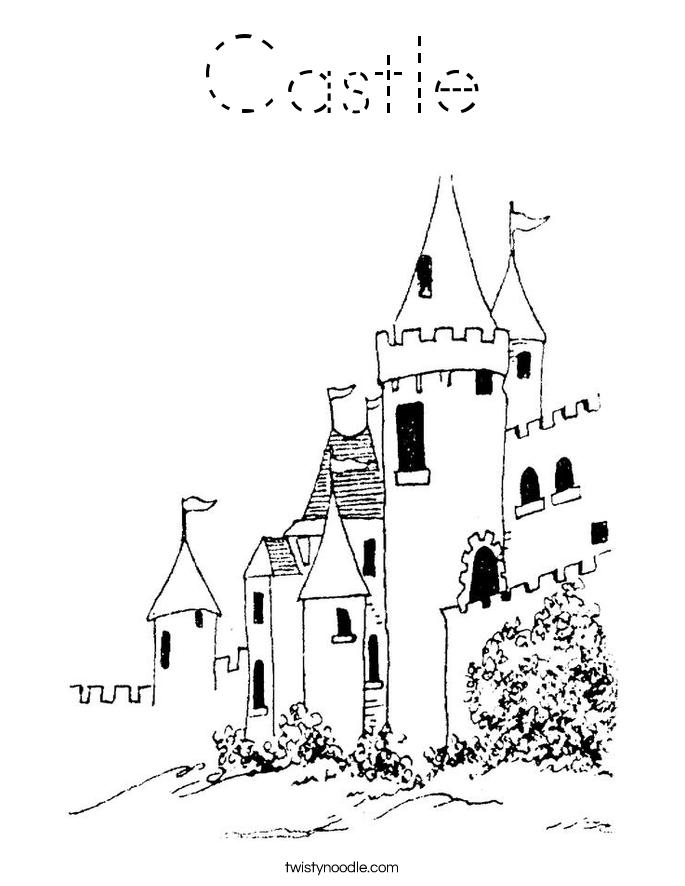 Coloring Castle Alphabet Pages : Castle coloring page tracing twisty noodle