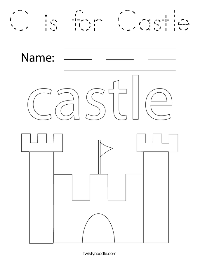 C is for Castle Coloring Page