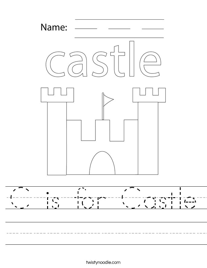 Coloring Castle Alphabet Pages : C is for castle worksheet twisty noodle