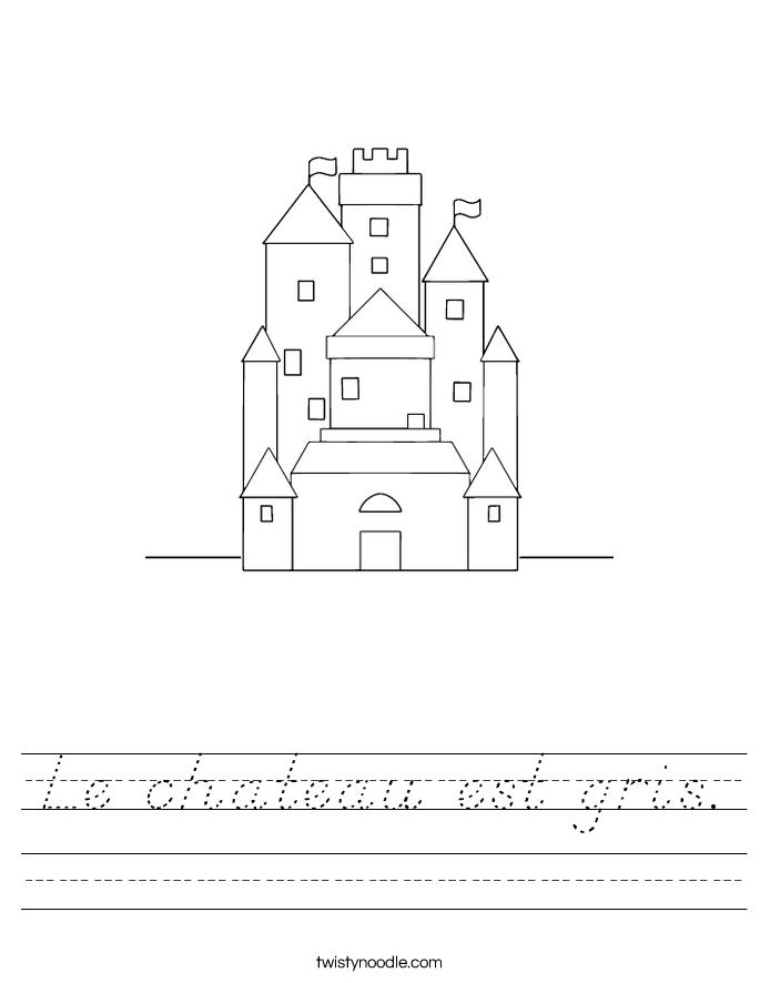 Le chateau est gris. Worksheet