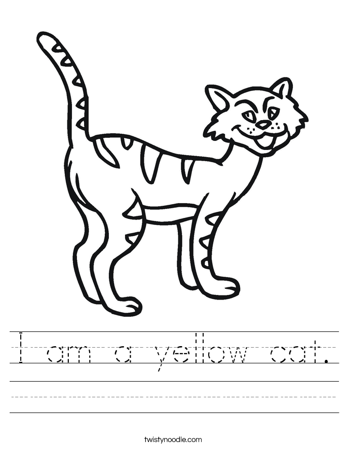 I am a yellow cat. Worksheet