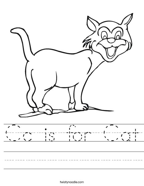 Worksheets For Cats Meow : Cc is for cat worksheet twisty noodle