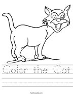 Color the Cat Handwriting Sheet