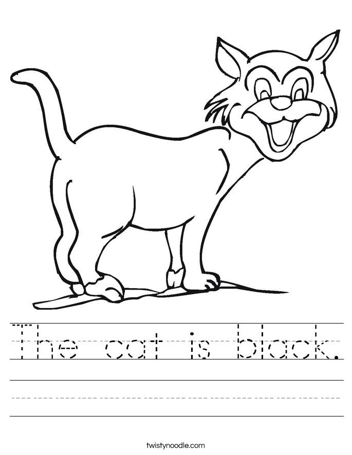 The cat is black. Worksheet