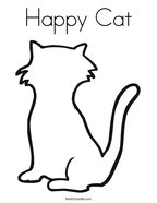 Happy Cat Coloring Page