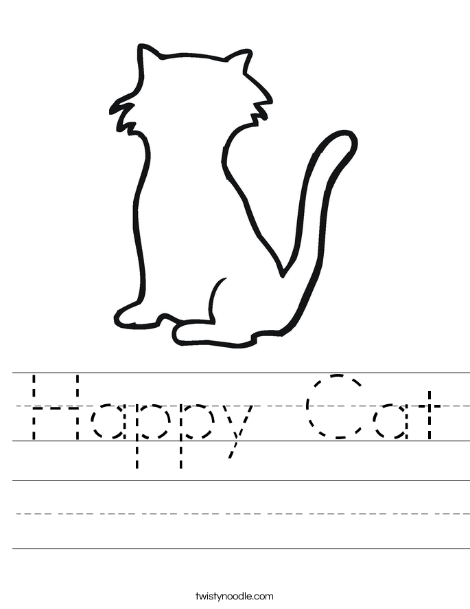 Happy Cat Worksheet - Twisty Noodle