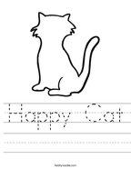 Happy Cat Handwriting Sheet
