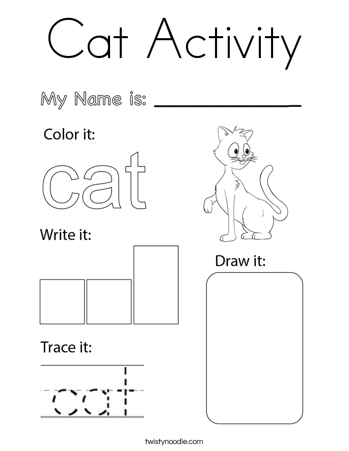Cat Activity Coloring Page