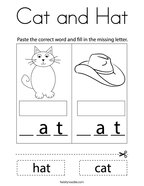 Cat and Hat Coloring Page