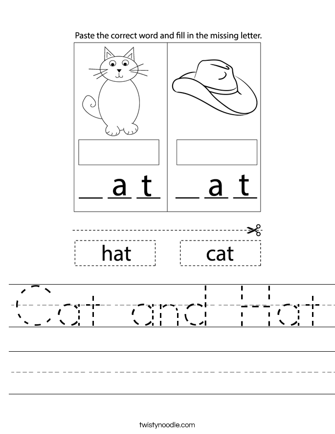 Cat and Hat Worksheet