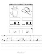 Cat and Hat Handwriting Sheet