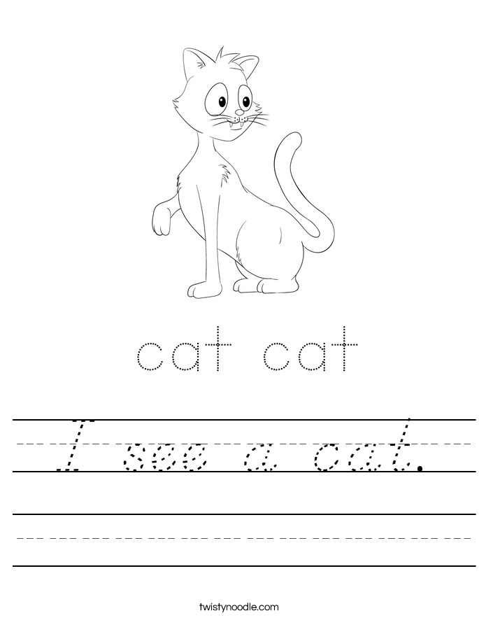 I see a cat. Worksheet