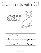 Cat starts with C Coloring Page