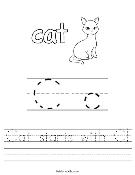 Cat starts with C! Worksheet