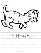 Kitten Handwriting Sheet