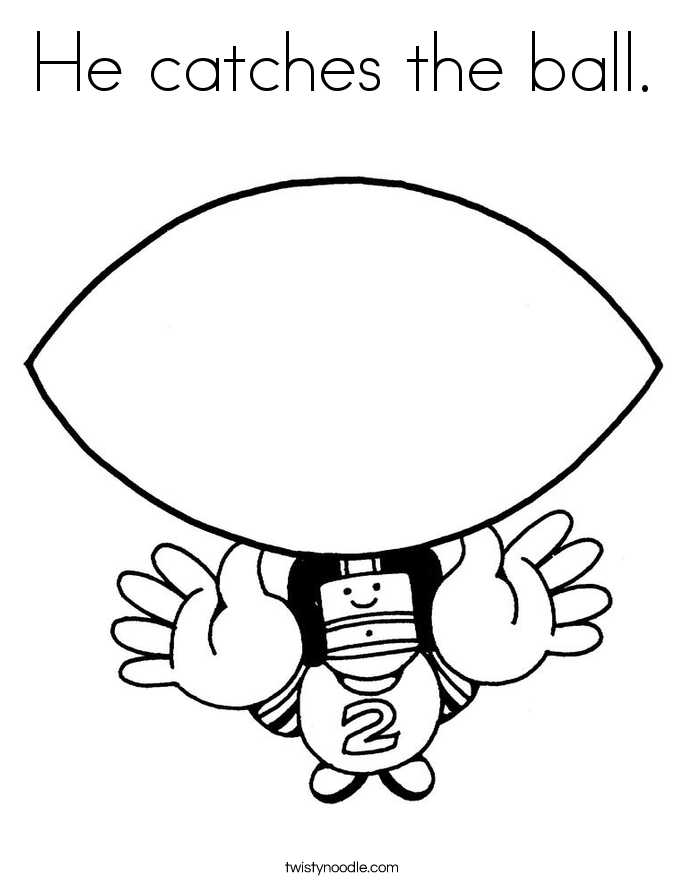 He catches the ball. Coloring Page