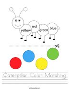 Caterpillar Color Matching Handwriting Sheet