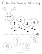 Caterpillar Number Matching Coloring Page