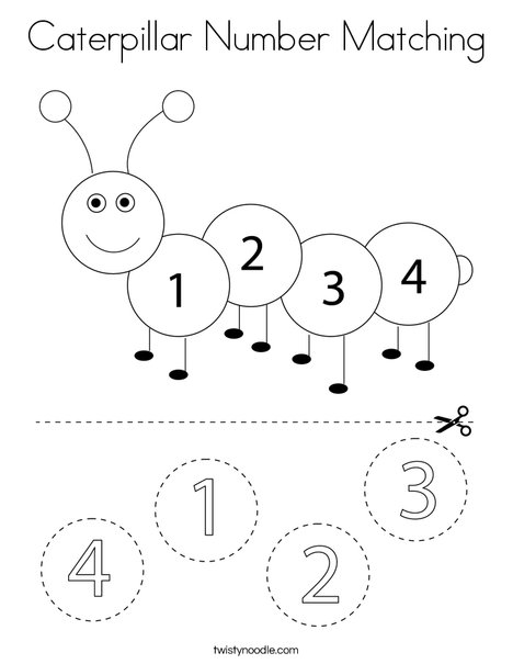 Caterpillar Number Matching Coloring Page Twisty Noodle