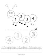 Caterpillar Number Matching Handwriting Sheet