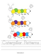 Caterpillar Patterns Handwriting Sheet
