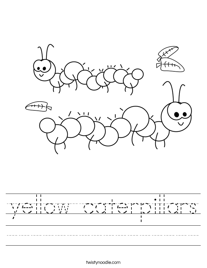 yellow caterpillars Worksheet