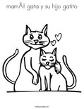 mamá gata y su hijo gatito Coloring Page