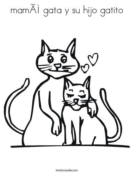 Mama Gata Y Su Hijo Gatito Coloring Page