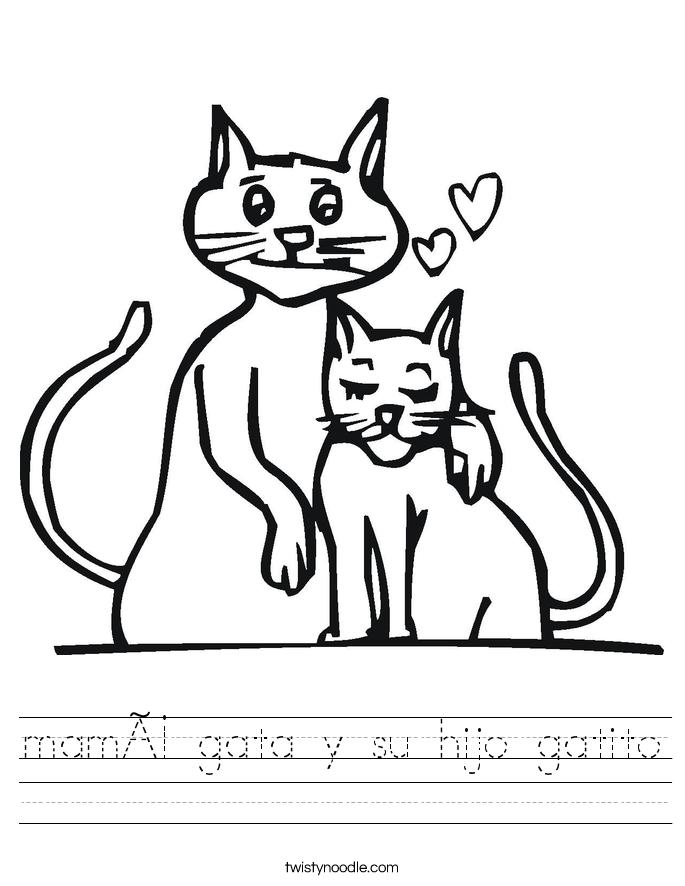 mamá gata y su hijo gatito Worksheet